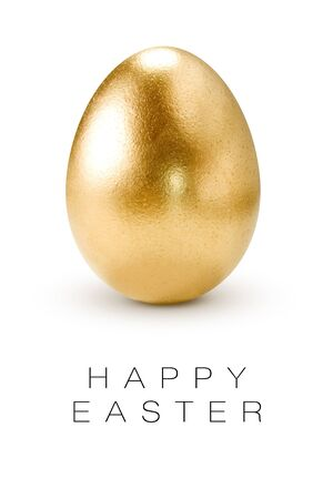 gold eggs: Happy Easter greeting card.