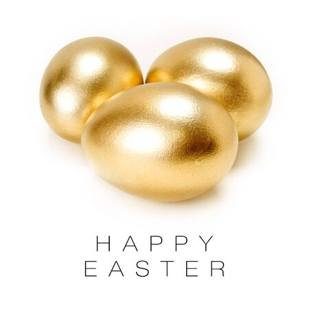 Happy Easter card (Golden eggs isolated on white background). Stock Photo