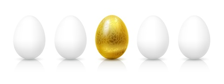 goldish: Gold and white eggs. Illustration