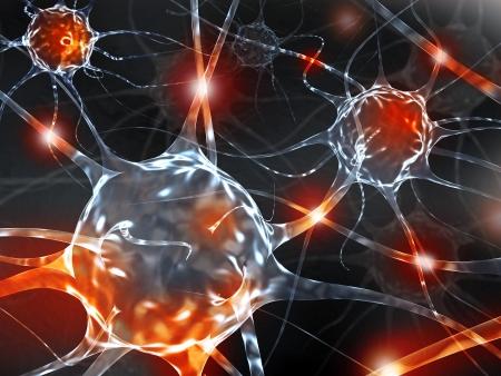 cellule nervose: Illustrazione di rendering 3D dei neuroni. Archivio Fotografico