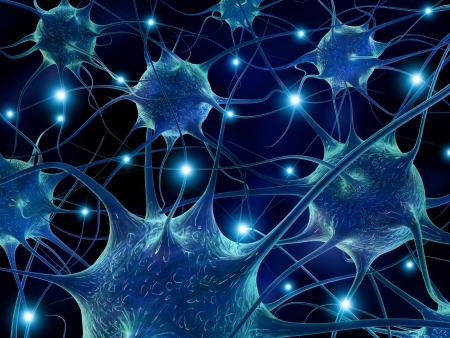 3D-rendering illustratie van neuronen.