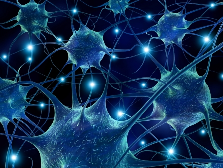 Ilustración 3D de las neuronas. Foto de archivo