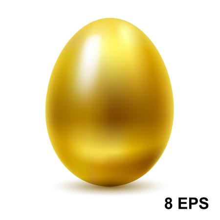 고립 된: 흰색 배경에 골드 계란.