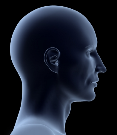 sideview: 3D head in profile isolated on black background. Stock Photo
