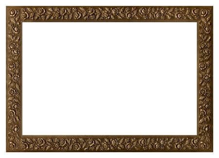bronzy: Decorative bronze frame with floral ornament isolated on white background.