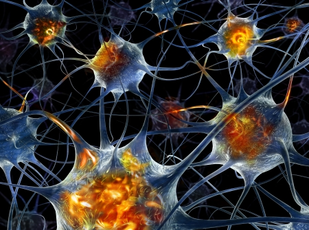 Neurons - 3d illustration  Banque d'images