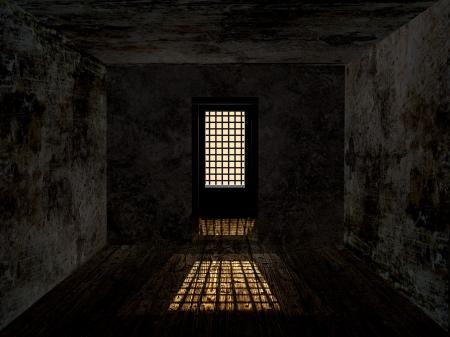 汚れたさびで覆われた壁と守られたウィンドウと悲観的なダンジョン。 写真素材