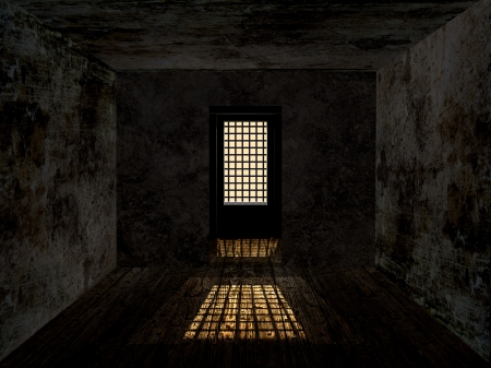prison cell: Sombre cachot avec mur rouill� sale et fen�tre gard�.