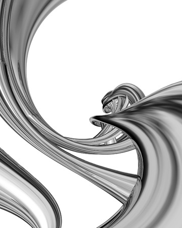 perversion: Abstract steel curved isolated on white background  Stock Photo