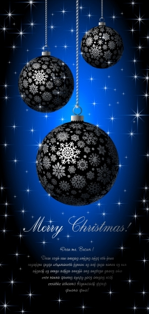 silvery: Merry Christmas card with silvery balls on blue background
