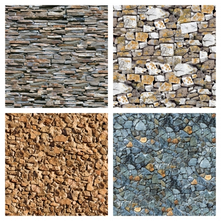 tileable: Seamless masonry wall background set.