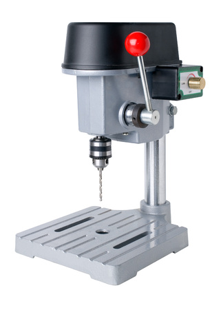 borer: Bench-mounted drill press isolated on white background  Stock Photo