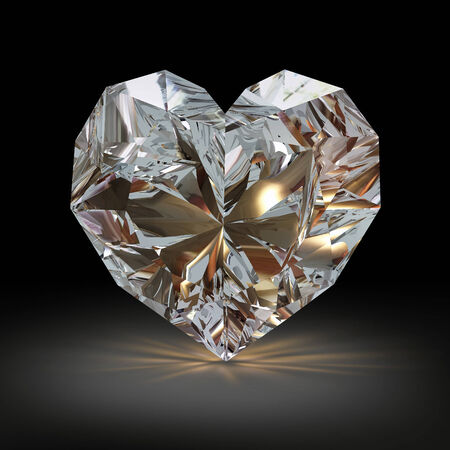 diamond shape: Diamond in the shape of heart on black background