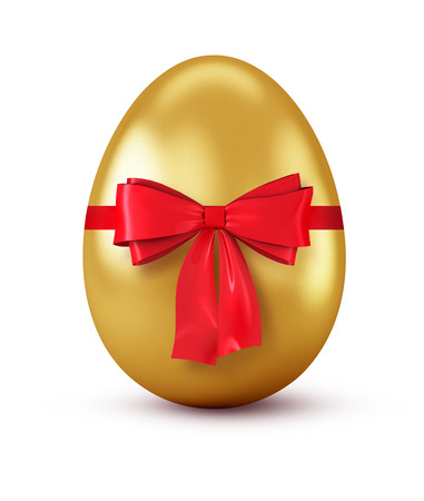 Gold egg with red bow isolated on white