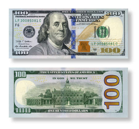 reverse: 100 new dollars set  right side and reverse side isolated on white background  Stock Photo