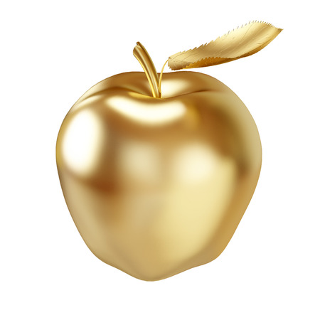 goldish: Gold apple isolated on white - 3D illustration. Stock Photo