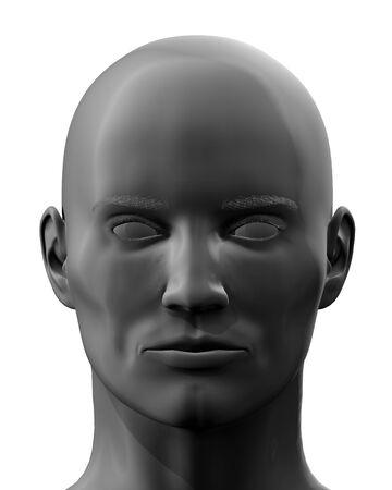 en: Black 3D en face head isolated on white background.