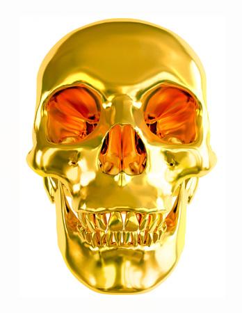 gold en: Gold skull isolated on white background.