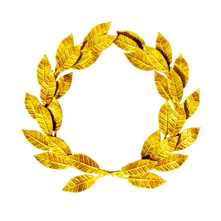 Gold laurel wreath isolated on white. Imagens