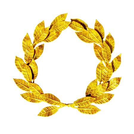 Gold laurel wreath isolated on white. Standard-Bild