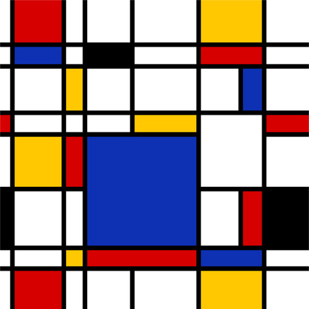 mondrian: Seamless abstract geometric colorful vector pattern for continuous replicate. Illustration