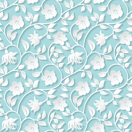 azul turqueza: Ornamentales patrón floral transparente.