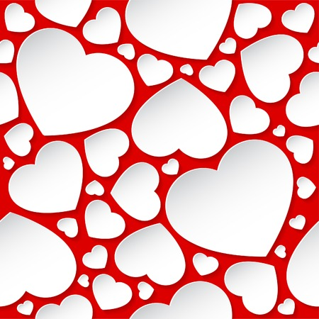 White hearts on red background - seamless pattern. Illustration