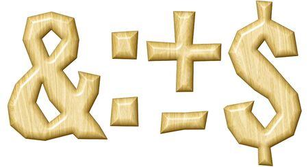 symbol  punctuation: Wooden punctuation marks set isolated on white background.
