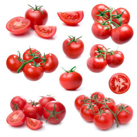 clusters: Tomato set isolated on white background. (Single, cluster, group, slice, part).