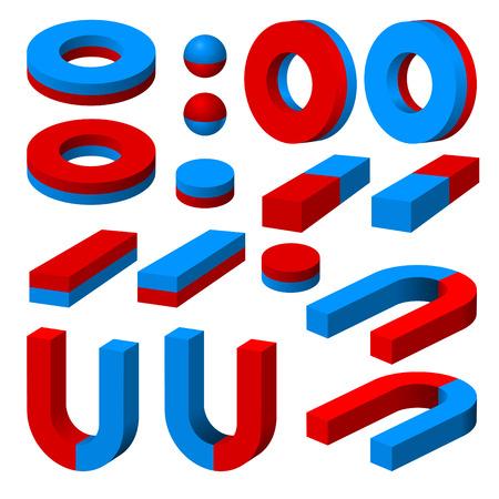 Una serie di magneti differenti. Vettoriali