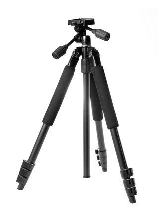 Black tripod isolated on white background.