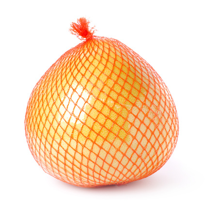 packed: Pomelo fruit packed isolated on white background.