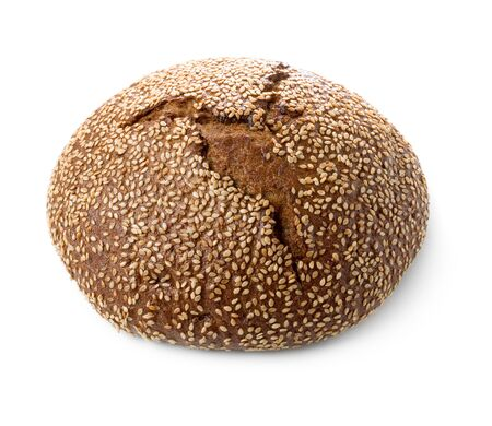 Loaf of black bread with sesame isolated on white background.