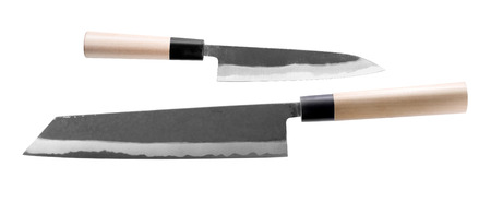 Two Japanese knives isolated on white background (top view).