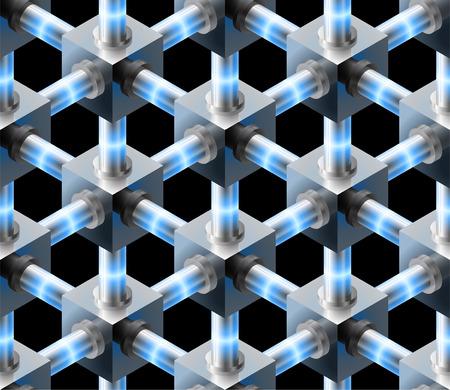 Seamless metal luminous blue cubes on black background. Ilustração