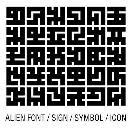 Alien font isolated on white (vector).