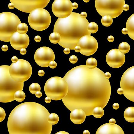 Seamless gold balls on black background.