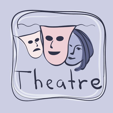 theatrical performance: Day of Theatre. Illustration. Stock Photo