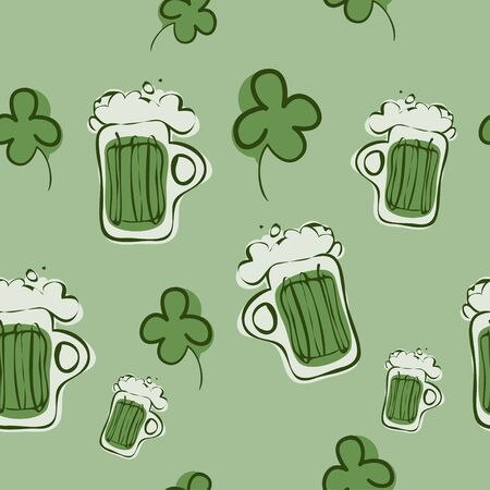 fourleaf: Illustration of a Seamless Shamrock and Grean Beer Pattern.