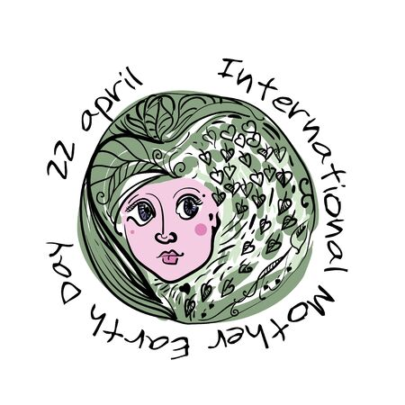 International Mother Earth Day illustration with a face Illustration