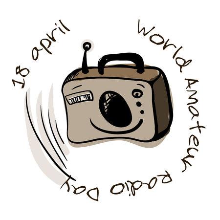ilustración del mundo Amateur Radio Día Ilustración de vector