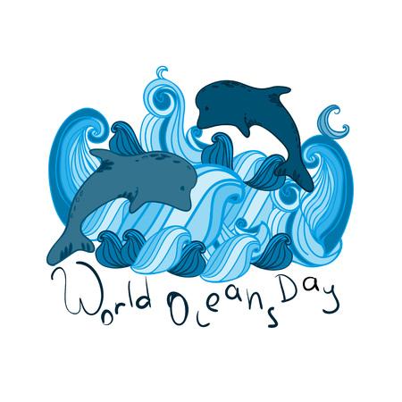 World Ocean Day. Illustration.