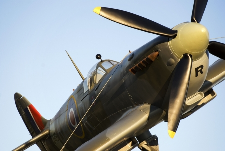 World war 2: Spitfire zoomed in on canopy and propeller