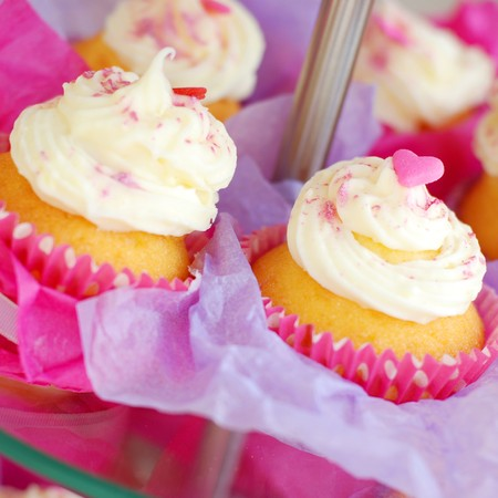 Several pink cupcakes on a tray. Stock Photo - 7741051