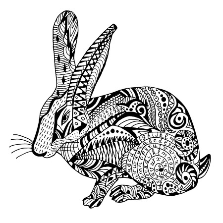 Rabbit Hand drawn sketched illustation. Doodle bunny graphic with ornate pattern. Design Isolated on white