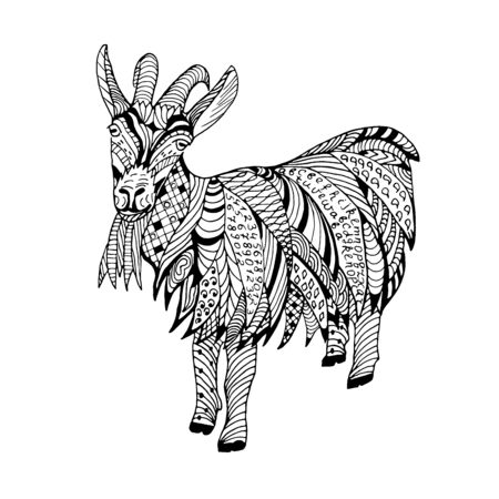 Goat Hand drawn sketched illustation. Doodle graphic with ornate pattern. Design Isolated on white.