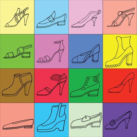 Vektorillustration von Frauenschuhen, Stiefel eingestellt. Hand ertränken Schuhe Illustrationen. Modekollektion Skizze.