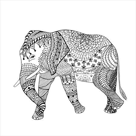 Elefante dibujado a mano ilustración vectorial boceto. gráfico de bosquejo con modelo adornado. Foto de archivo - 70662731