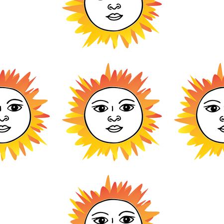 Tarot card sun pattern hand drawn. Orange red on white Illustration