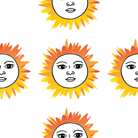 Tarot card sun pattern hand drawn. Orange red on white